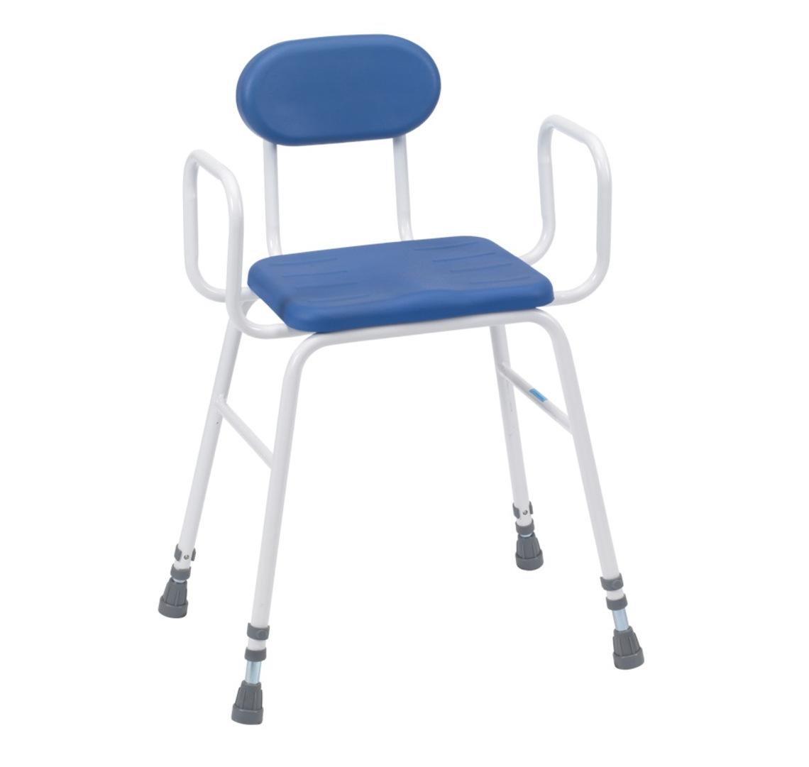 Deluxe Perching / Kitchen / Shower Stool With Arms & Back