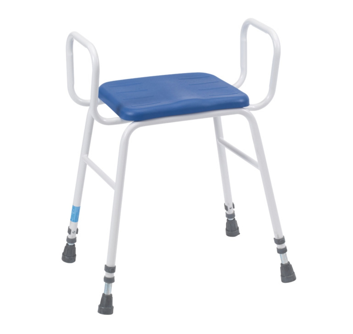 Deluxe Perching / Kitchen / Shower Stool With Arms